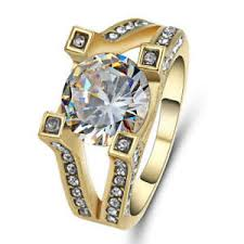 s wedding ring halo jewelry white sapphire size 9 yellow rhodium plated women s