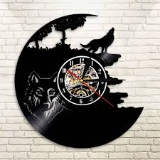 1piece wolf vinyl record clock wolf silhouette wall clock howling