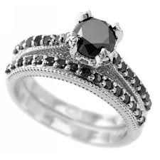 black band engagement rings fancy black diamond engagement ring wedding band set