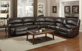 Reclining Sectional Sofas by E Motion 4400 Brown 3 Recliner Sectional Sofa With Console Kian Usa