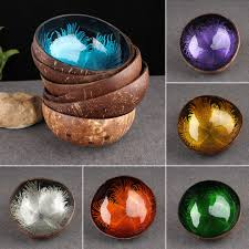 natural coconut shell bowl dishes mosaic handmade kitchen paint