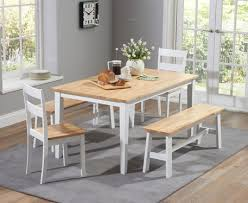 Buy The Chiltern Cm Oak And White Dining Table Set With Benches - White kitchen table with bench