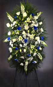 flower delivery dallas blue and white standing easel spray flower delivery dallas tx