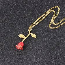 gold red rose necklace images Golden red rose flower necklace ilovejmc jpg