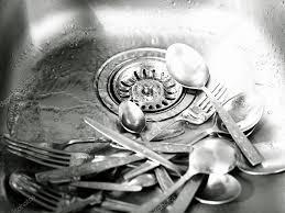 Steel Kitchen Sink With Dirty Utensils  Stock Photo  Tolokonov - Dirty kitchen sink