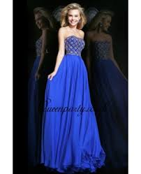 prom dresses sapphire blue beaded strapless long prom dress with