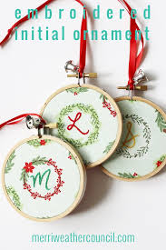 embroidered christmas personalized initial embroidered christmas ornament the