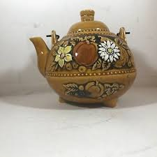 brown floral wire vintage teapot tea time tea kettle japan wire handle