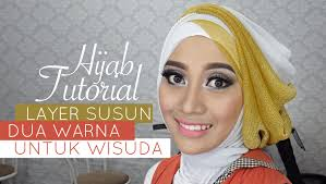 tutorial jilbab dua jilbab tutorial hijab pesta atau wisuda style hijab layer 2 warna 1