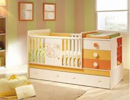 colorful orange baby crib bedding withbuilt in drawers and drawers