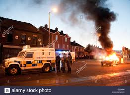 belfast uk 12 01 13 a car burns in the beersbridge area as stock