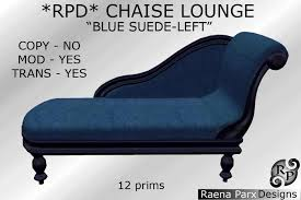 Blue Chaise Second Life Marketplace Sculpt Chaise Lounge Left Blue Suede