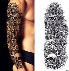 temporary tattoo full arm sleeve black skulls snake roses bones
