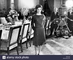 jacqueline kennedy in the state dining room during a taped tour
