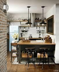 cuisine style retro esprit loft avec murs de briques apparentes kitchens interiors