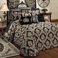 Black Bedding Fenmore Damask Quilted Oversized Bedspread Bedding