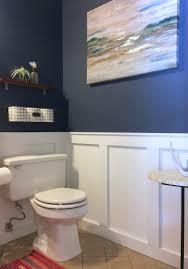 before u0026 after kelli u0027s powder room gets a deep blue facelift