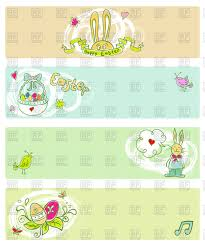 easter banner templates with cartoon bunnies vector clipart image