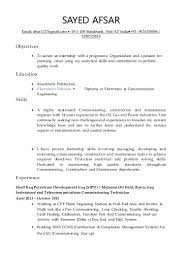 oil gas sr instrumentation and telecoms commissioning cv