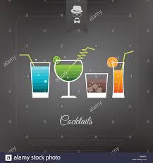 set of fresh party cocktail icons over dark background vector