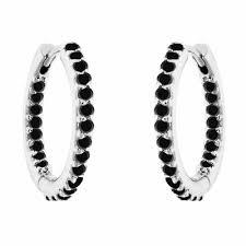 black hoop earrings inside out black diamond hoop earrings platinum 0 75 inch 0 90