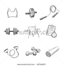 collection freehand drawing sketches on fitness stock vector