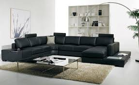 Large Black Leather Sofa Black Leather Sofa Modern Large Size U Shaped Sofa Set With Light