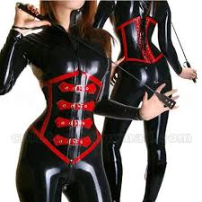 2018 1mm latex black and red corset suit catsuit with back ties