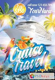 cruise travel psd flyer template facebook cover free download