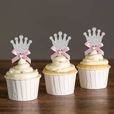 custom cupcake toppers custom bow color gold silver black glitter crown cupcake toppers