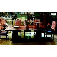 010 rectangular dining table vintage finish wood base scalloped