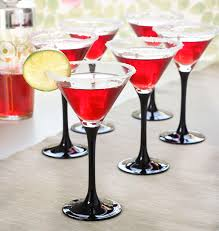 martini black 4 black stem cocktail martini 260ml glasses