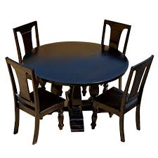Black Round Dining Room Table Wood Lincoln Study Black Round Dining Table U0026 Chair Set
