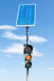 Solar Traffic Light - road traffic light and solar panel stock image image 77146767