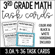 3 oa 4 3rd grade math task cards unknown numbers equations tpt