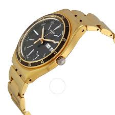 gold tone stainless steel bracelet images Open box swatch irony black dial gold tone stainless steel jpg
