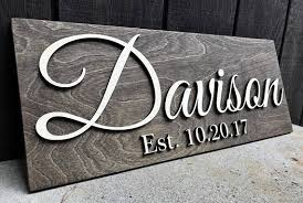 wedding gift name sign custom wood sign family name sign personalized wedding gift