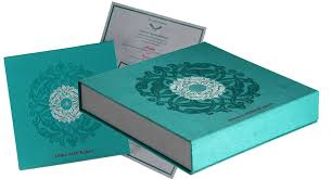 indian wedding card box card box in exquisite aquamarine silver color
