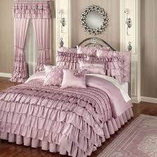 Ruffled Bed Set Enchante Dusty Mauve Ruffled Comforter Bedding