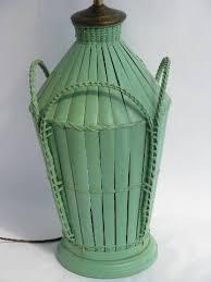 Rattan Table Lamp Vintage Rattan Wicker Table Lamp Pretty Jadite Green Paint