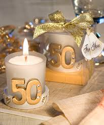 candle favors golden 50th anniversary candle favors