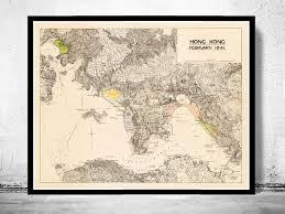 Vintage Map Vintage Map Of Hong Kong Kowloon 1941 China