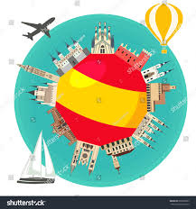The Flag In Spanish Spanish Famous Landmarks Around Flag Spain Stock Vector 693868063