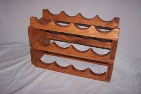 varnished chestnut wood wine rack with curved rails of charming