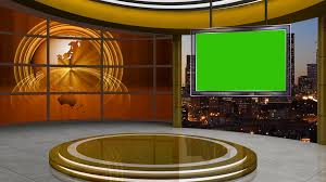 Green Tv Sparkles On Screens In Virtual Studio Background Loop Motion