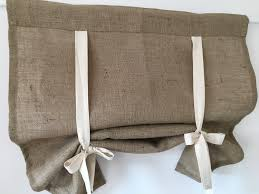 burlap or linen curtains country kitchen tie up valance rustic