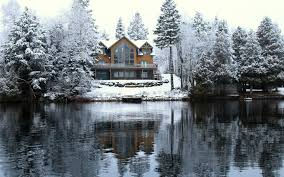 winter lake louisa snow icy house trees desktop winter wallpaper