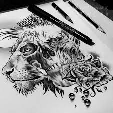 lion n skull crown tattoo designs photo 2 photo pictures and
