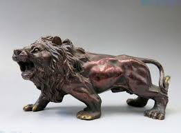 foo lion statue china bronze sculpture carved copper beautiful lucky foo dog