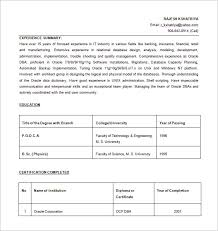 resume exle for database administrator resume template 8 free word excel pdf